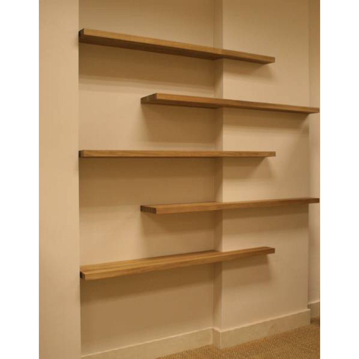 15 collection of oak wall shelves.