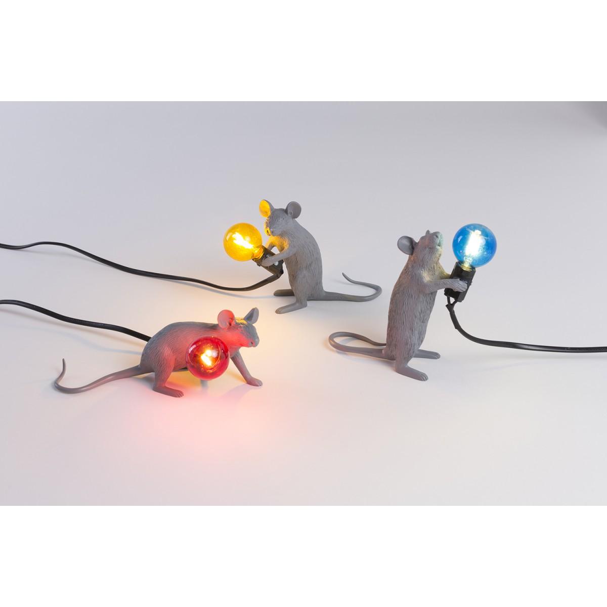 Mouse Lamp Lie Down Grey