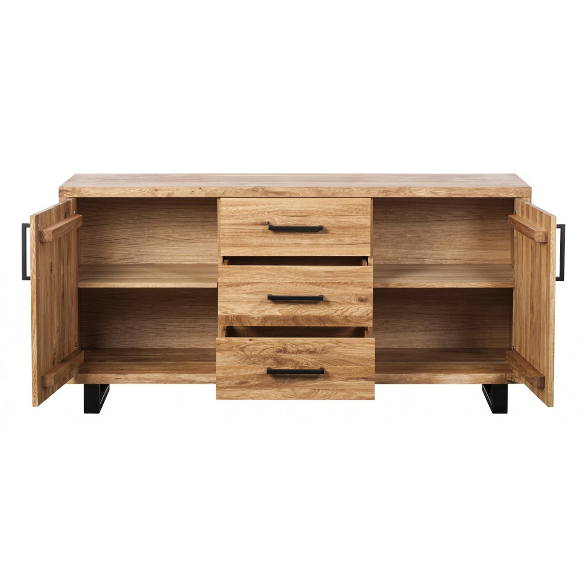 Quantum Oak Petite 2 Door And 3 Drawers Sideboard on floating media console 2