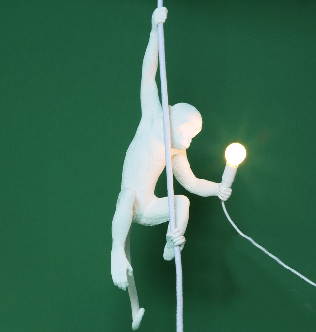 Monkey Lamp With Rope White