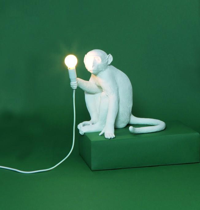 Monkey Lamp Sitting White