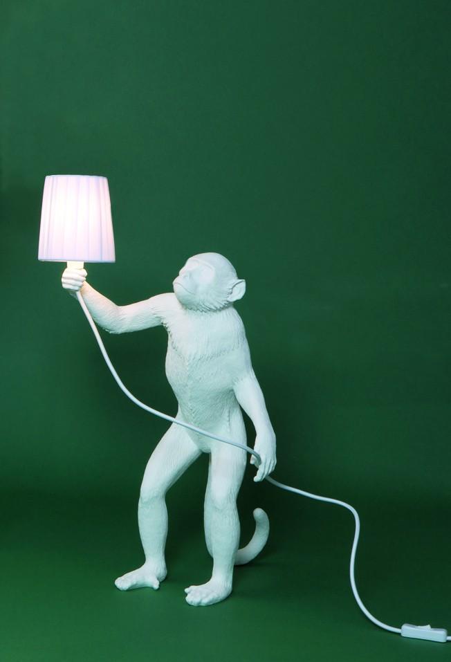 Monkey Lamp Standing White