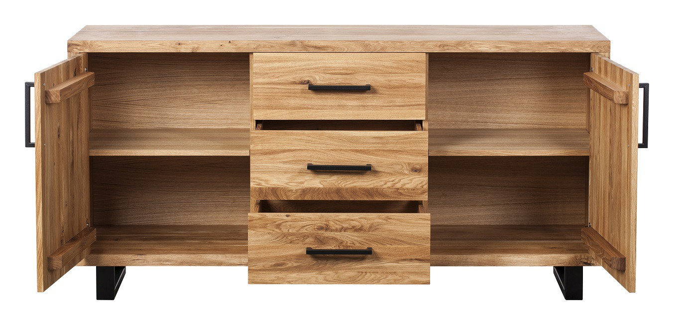 Quantum Oak Petite 2 Door and 3 Drawers Sideboard