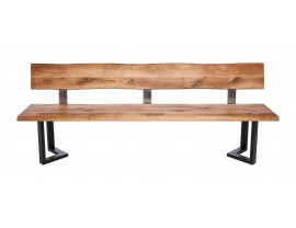 Fargo Oak Bench with Back with M-shape leg 3x6cm
