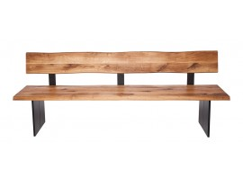 Fargo Oak Bench with Back with Full leg