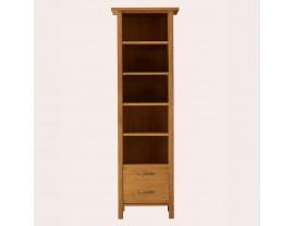 Milton Oak 2 Drawer Single Bookcase