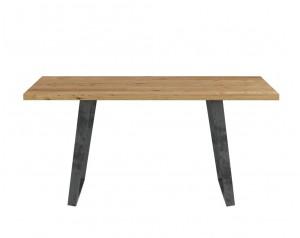Fargo Oak Dining Table With Trapeze Metal Leg