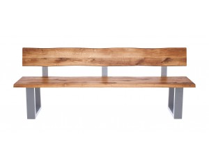 Fargo Oak Bench with Back with U-shape leg 4x10cm