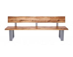 Fargo Oak Bench with Back with U-shape leg 4x10cm