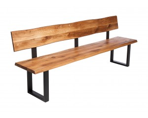 Fargo Oak Bench with Back with U-shape leg 3x6cm