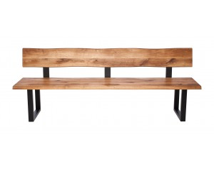 Fargo Oak Bench with Back with U-shape leg 3x6cm