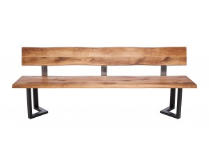 Fargo Oak Bench with Back with M-shape leg 3x6cm