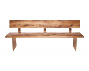 Fargo Oak Bench with Back with Full Wooden Leg