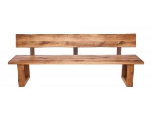 Fargo Oak Bench with Back with U-shape wooden leg 4x10cm