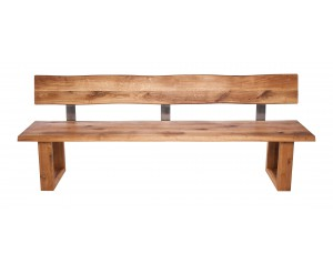Fargo Oak Bench with Back with U-shape wooden leg 4x10cm