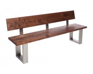 Fargo Walnut Bench with Back with U-shape leg 4x10cm