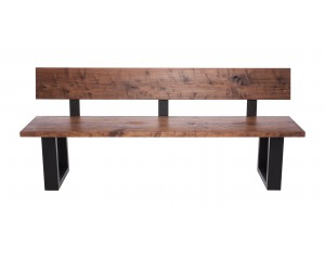 Fargo Walnut Bench with Back with U-shape leg 4x10cm