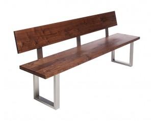 Fargo Walnut Bench with Back with U-shape leg 3x6cm