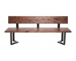 Fargo Walnut Bench with Back with M-shape leg 3x6cm