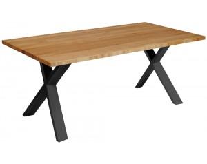 Fargo Oak Dining Table With X Shape Metal Leg