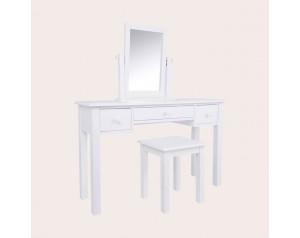 Ashwell Cotton White 3 Drawer Dressing Table & Stool Set