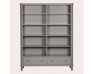 Henshaw Pale Charcoal 2 Drawer Double Bookcase