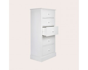 Ashwell Cotton White 5 Drawer Tall Chest