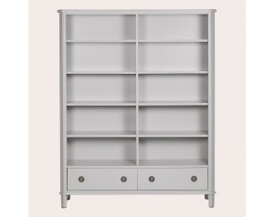 Henshaw Pale Steel 2 Drawer Double Bookcase
