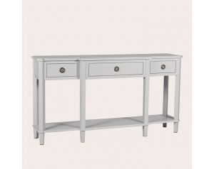 Henshaw Pale Steel 3 Drawer Triple Console Table