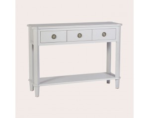 Henshaw Pale Steel 3 Drawer Console Table