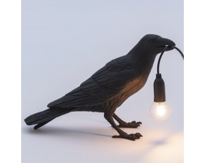 Bird Lamp Waiting Black