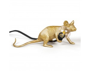Mouse Lamp Lie Down Gold