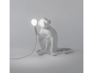 Monkey Lamp Sitting White