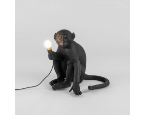 Monkey Lamp Sitting Black