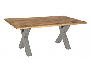 Fargo Oak Dining Table with X-Shape Chunky Metal Leg 10x10 cm